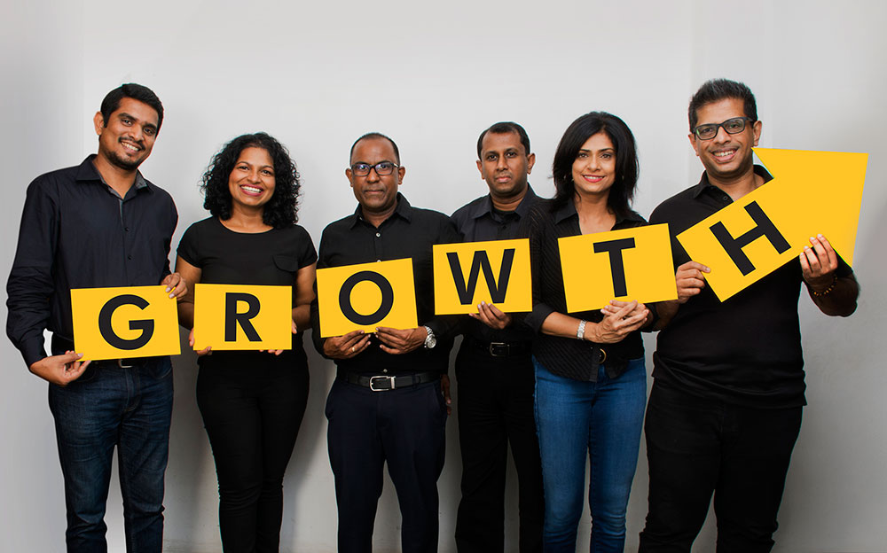 (From Left to Right) Imesh Goonewardene, Chief Operating Officer; Rozaine Cooray, Behavioural/Organisational Psychologist; Naresh Abeyesekera, Financial Strategist; Dharshana Senerath, Director- Brands; Sharmila Cassim Captain, Chief Strategy Officer; Chrishantha Jayasinghe, Managing Director.